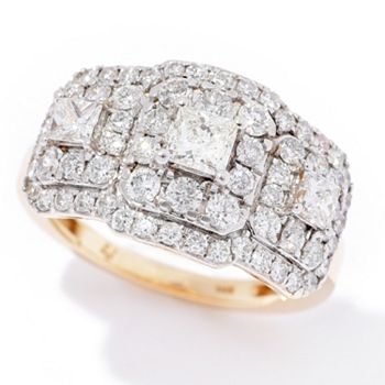 Dazzling Diamonds 178-284 Dettaglio 14K Gold 0.16ctw Diamond 3-Stone Triangle Stud Earrings - 193-181