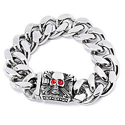 Invicta Jewelry Men's Stainless Steel Choice of Size Skull Curb Link Bracelet