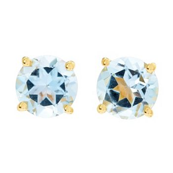 193-258 Gems of Distinction™ 14K Vermeil Choice of 7mm Round Gemstone Stud Earrings - 193-258