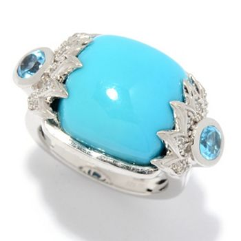 Tantalizing Turquoise Shop Blue & Bold hues- 193-315 Victoria Wieck Collection 14mm Sleeping Beauty Turquoise & Gemstone Claw Ring - 193-315