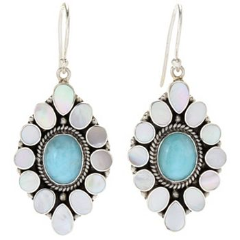 Jewelry - 193-331 Artisan Silver by Samuel B. 1.25 Larimar & Mother-of-Pearl Drop Earrings - 193-331