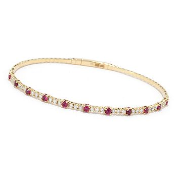 Gems of Distinction - 193-388 Gems of Distinction™ Studded Souple 14K Gold 1.25ctw Diamond & Gemstone Flex Bangle w Clasp - 193-388