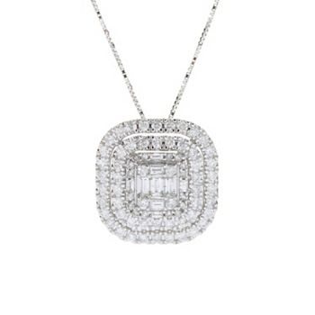 Pamela McCoy Collections - 193-390 Gems of Distinction™ Crescendo 14K Gold 1.01ctw Diamond Triple Halo Pendant w 18 Chain - 193-390