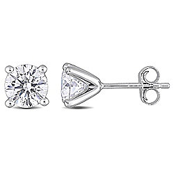 Created Jules Sterling Silver 2.00 DEW Round Cut Moissanite Solitaire Stud Earrings