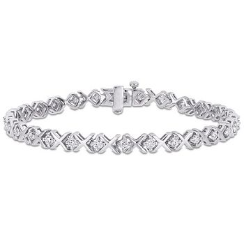 Bracelets Perfect For Valentine's Gifting - 193-527 Created Jules Sterling Silver Choice of Plating 7.25 1.75 DEW Moissanite X & O Tennis Bracelet - 193-527