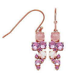 Victoria Wieck Collection 0.86ctw Rose Quartz & Lab-Created Gemstone Earrings