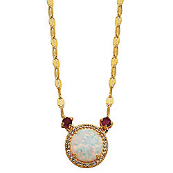 Victoria Wieck Collection Lab-Created White Opal & 0.24ctw Ruby Necklace