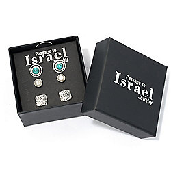 Passage to Israel™ Sterling Silver Set of 3 Stud Earrings with Gift Box