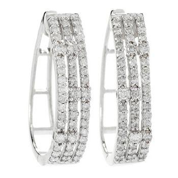 Dazzling Diamonds Classic Glamour - 193-848 Gems of Distinction™ Sterling Silver 1 1.02ctw Diamond Hoop Earrings - 193-848