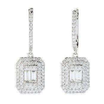 Earrings - 193-981 Gems of Distinction™ 14K White Gold 1.20ctw Diamond 1 Drop Earrings - 193-981