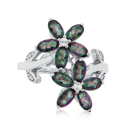 194-038 Belle Artique Sterling Silver Multi-Color Quartz & Topaz Flower Ring - Size 7
