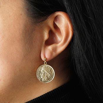 Italian Jewelry Handcrafted Tuscan Styles - 194-357 Italian Gold 14K Gold 100 Lire Coin 1 Dangle Earrings - 194-357