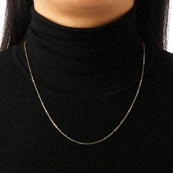 Web Exclusive Online Only Deals 194-364 Italian Gold 14K Gold Choice of Length Fine Hammered Oval Link Chain Necklace - 194-364