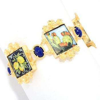 18K Gold | Ft. Tagliamonte 18K | 194-408 Tagliamonte 18K Gold Embraced™ 7 Sicilian Tile & Lapis Floral Detail Bracelet - 194-408