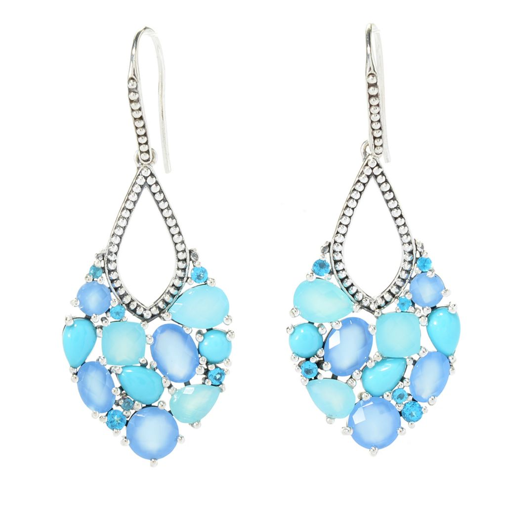 Statement Shades of Blue Looped Tassel Sterling Silver Hoop Earrings