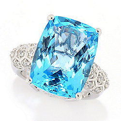 Gem Treasures® Sterling Silver 18x13mm Electric Blue Topaz Honeycomb Ring