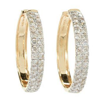 195-389 Diamond Treasures® 14K Gold 1 2.00ctw Pave Diamond Hoop Earrings - 195-389