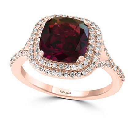 195-453 EFFY Bordeaux 14K Rose Gold 3.98ctw Rhodolite & Diamond Ring, Size 7