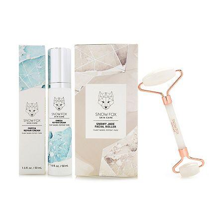 317-497 Snow Fox Skincare Omega Repair Cream 1.6 oz & Snowy White Jade Facial Roller