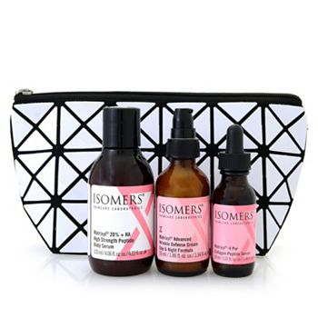 ISOMERS Skincare New Sets & FREE Gift Bags - 317-848 ISOMERS 3-Piece Collagen Peptide Booster Kit w Cosmetic Bag - 317-848