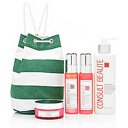 Consult Beaute Champagne & Caviar Skincare Set w/ Mini Travel Duffle