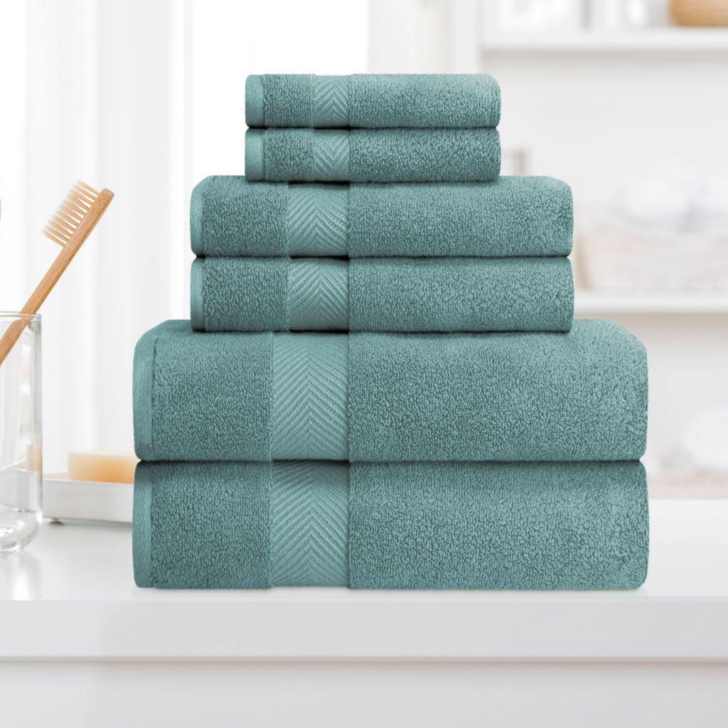 Superior 100 Cotton Zero Twist 6 Piece Towel Set Shophq