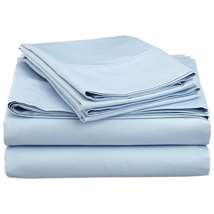 455-580 Impressions 600TC Cotton  Poly Olympic Queen Solid 4-Piece Sheet Set
