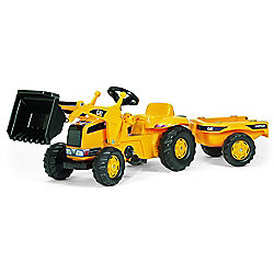 Caterpillar Kids' Front Loader Tractor w/ Hauling Trailer