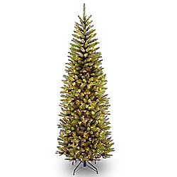7.5' Fir Pencil Slim Artificial Christmas Tree w/ Clear Lights