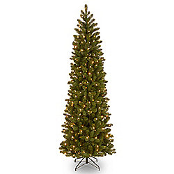 7.5' Douglas Fir Pencil Slim Artificial Christmas Tree w/ Clear Lights