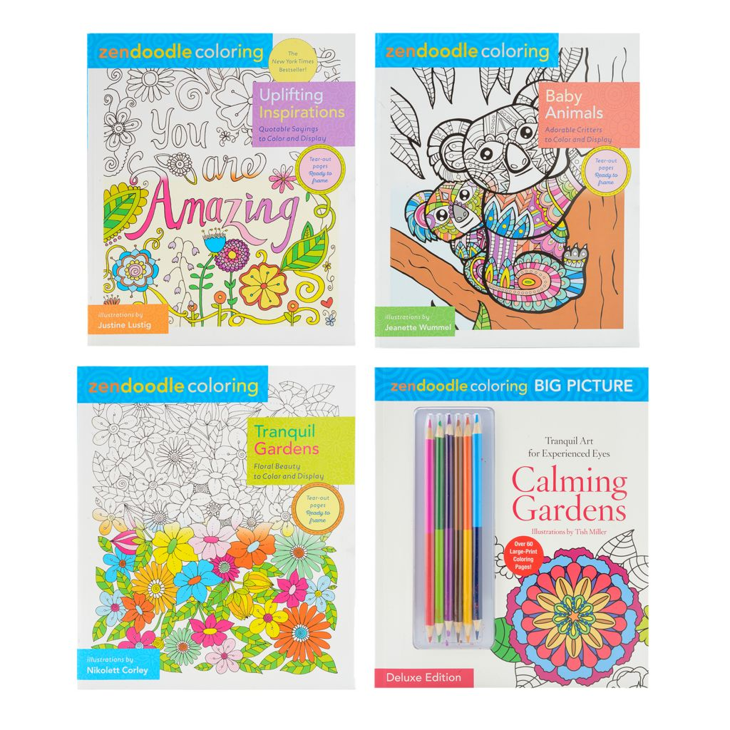 Zendoodle Set Of Four Coloring Books W/ Six Two-Sided Colored Pencils -  ShopHQ
