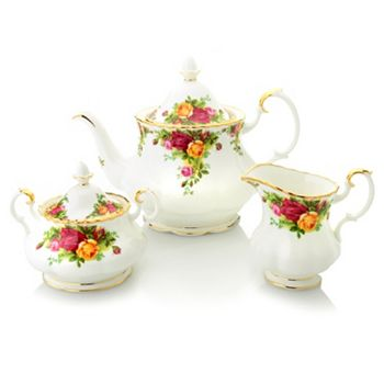 Customer Choice Up To 65% Off Home Favorites - 469-253 Royal Albert Old Country Roses 3-Piece Fine Bone China Tea Set w22K Gold Accents - 469-253