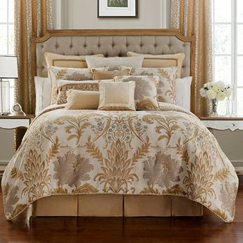476-815 Waterford Fine Linens Ansonia 4-Piece Ivory Comforter Set - 476-815