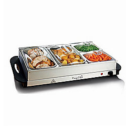 MegaChef Buffet Server & Food Warmer w/ 4 Removable Sectional Trays