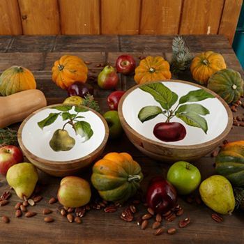 Autumn Décor Spruce Up Your Home for the Season - 477-433 Two's Company Set of (2) Mango Wood Assorted Bowls & Fruits Wall Art - 477-433