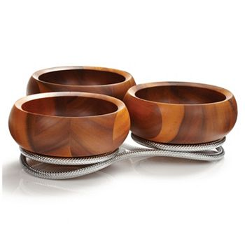 Beautiful Tablescapes The Settings You've Dreamed Of - 477-485 Nambé 4 Piece Braid Wood & Alloy Condiment Server - 477-485