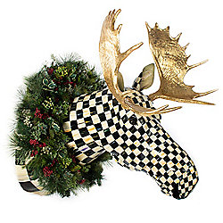 "MacKenzie-Childs Courtly Check 50"" Hand-Painted Large Moose Head w/ Wreath"