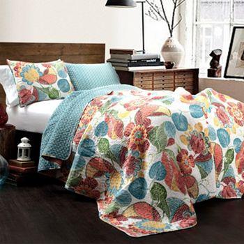 Best of Bedding  - 479-637 Lush Decor Layla Floral Print 3-Piece Quilt Set - 479-637