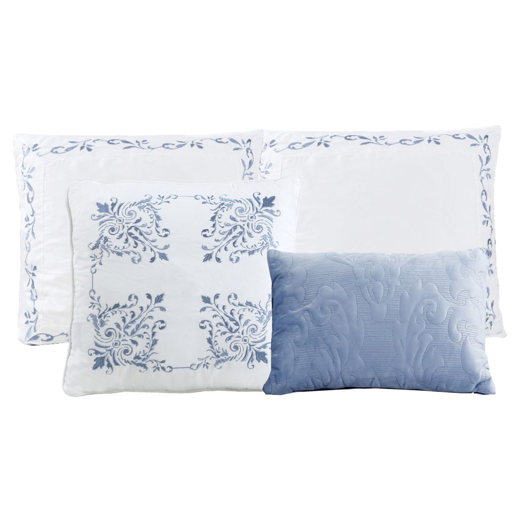 North Shore Living Versailles 4 Piece Embroidered Euro Sham Decorative Pillow Set Shophq