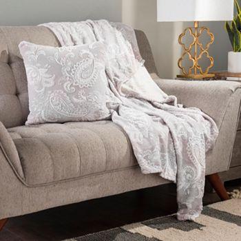 Home Savings Under $25 - 482-390 Cozelle® Plush Burnout Throw & Decorative Pillowcase Set - 482-390