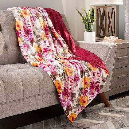 Cozelle Home & More Shop Savings Up to 60% Off -  484-268 Cozelle® 60 x 80 Ultra Soft Plush to Sherpa Reversible Throw