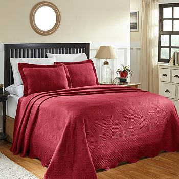 Décor & More Autumn-Inspired Accessories - 484-321 Decor Exclusive 100% Cotton Geometric Embossed 3-Piece Bedspread Set - 484-321