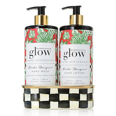 485-789 Glow Home Apothecary by MacKenzie-Childs Winter Bouquet Hand Wash & Lotion Caddy Set