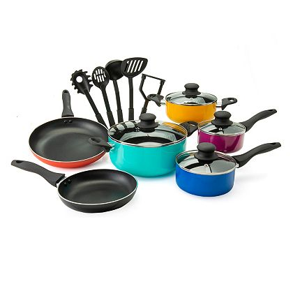 Gifts For The Cook Tune In At 3PM ET - 486-448 Vremi The Sizzla 15-Piece Color Pop Aluminum Nonstick Cookware & Utensil Set