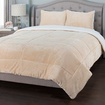 Home - 486-630 Cozelle® Plush Sherpa Knit Box Stitch 3-Piece Comforter Set - 486-630