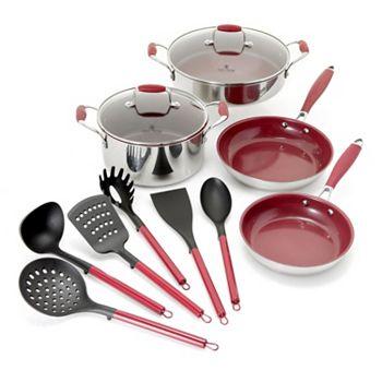 Shop All Cookware & Gourmet Food 489-229 Deen Family 12-Piece Tri-Ply Stainless Steel Cookware & Utensil Kitchen Set - 489-229