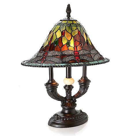 Tiffany Style Lighting 16 X 10 X 19 Albany Dragonfly Table Lamp Shophq