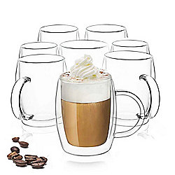 "JoyJolt Set of 4 or 8 (13.5 oz) ""Infinity"" Double-Wall Coffee Glasses"