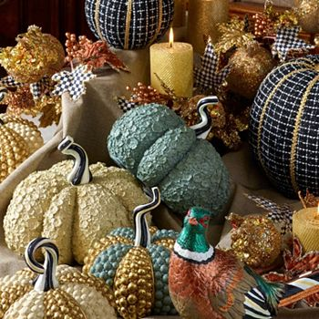 Home Accents Under $150 Small Pieces, Big Impact - 493-718 MacKenzie-Childs 8.25 Ivory Autumn Harvest Pumpkin - 493-718