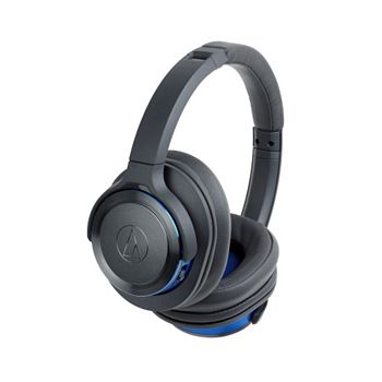 Electronics 494-648 Audio-Technica ATH-WS660BTGBL Solid Bass Wireless Over-Ear Headphones w Memory Foam Ear Pads - 494-648